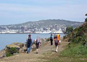 Walkers on path from Ngauranga to Kaiwharawhara