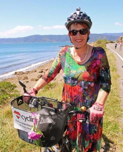 Celia Wade-Brown takes a break from mayoral duties to enjoy the Ciclovia